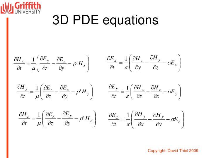 3D PDE equations