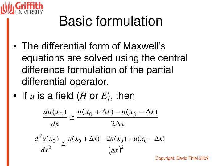 Basic formulation