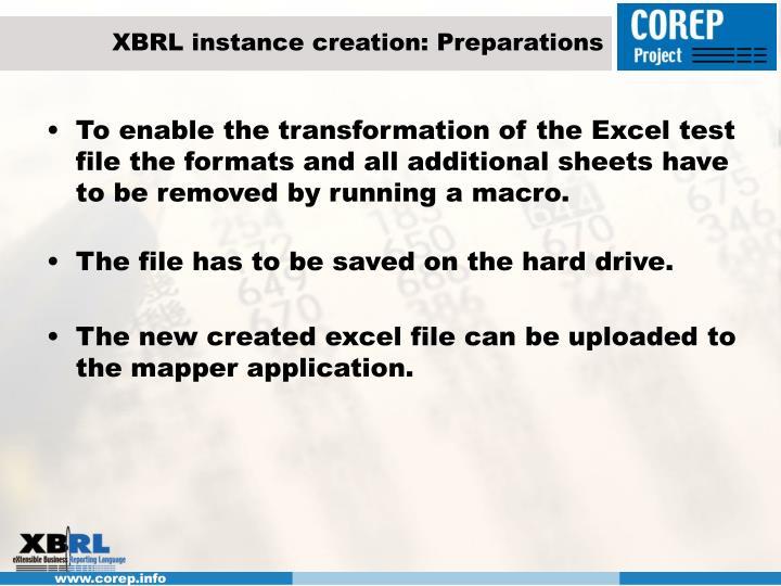 XBRL instance creation: Preparations
