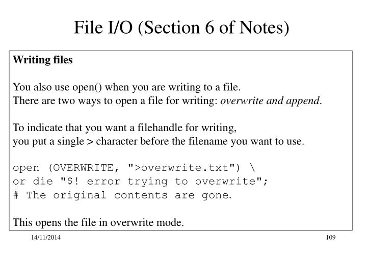 File I/O (Section 6 of Notes)