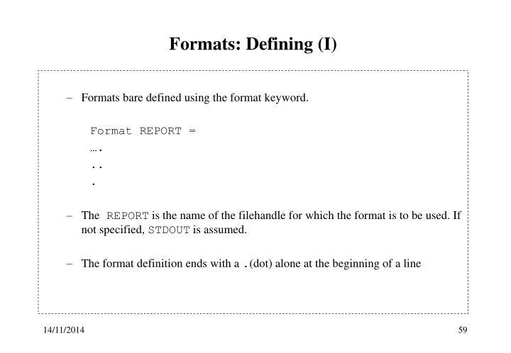 Formats: Defining (I)