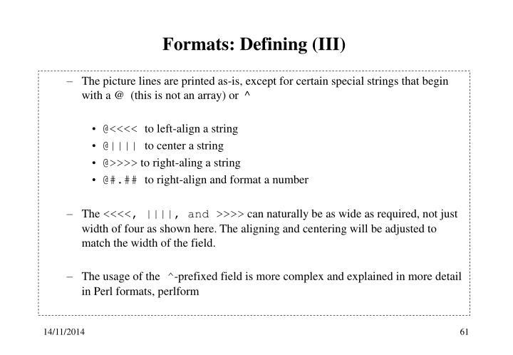Formats: Defining (III)