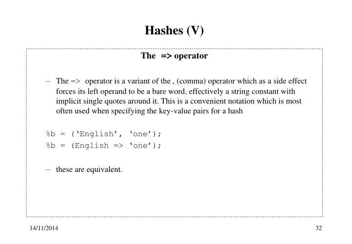 Hashes (V)