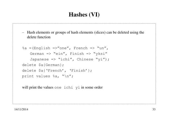 Hashes (VI)