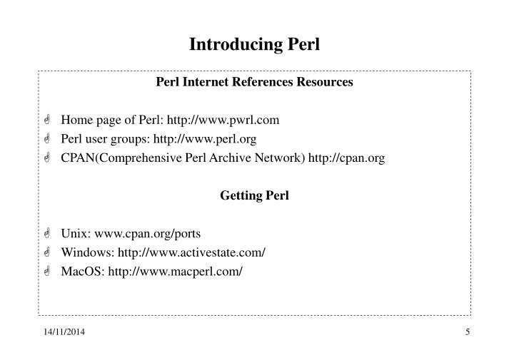 Introducing Perl