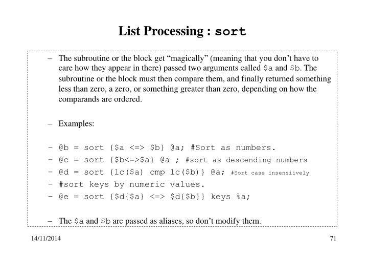 List Processing :