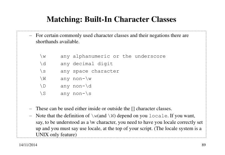 Matching: Built-In Character Classes