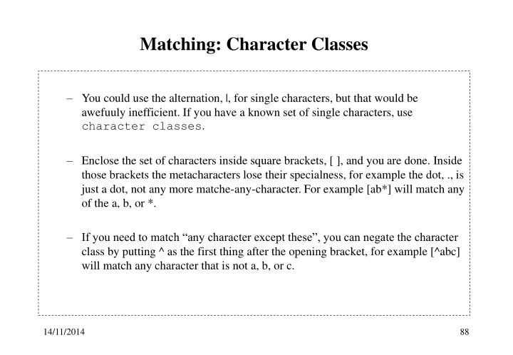 Matching: Character Classes
