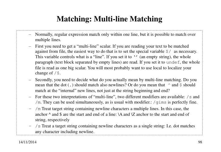 Matching: Multi-line Matching