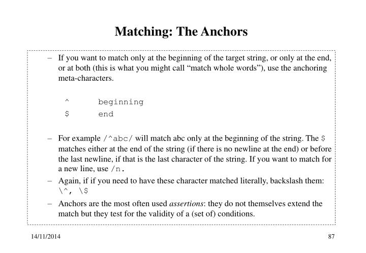 Matching: The Anchors