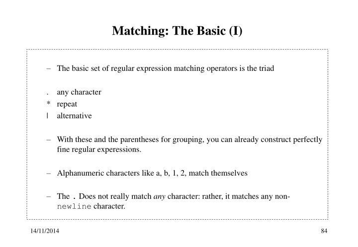 Matching: The Basic (I)