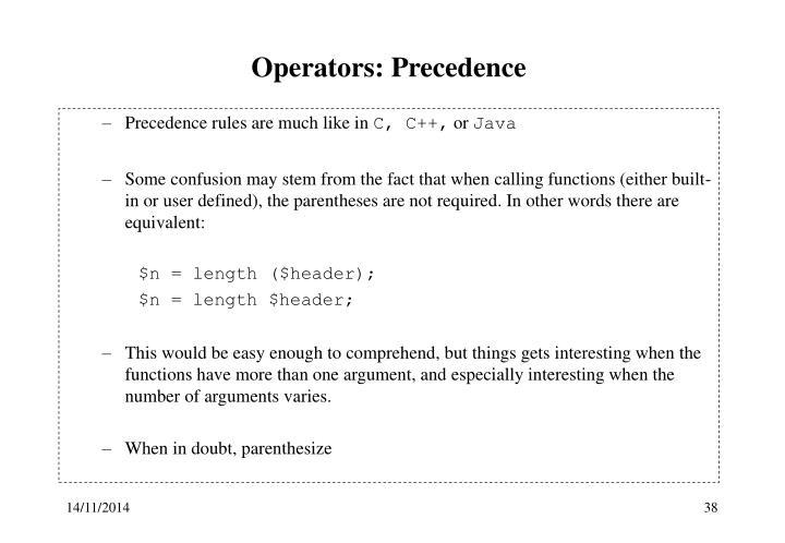 Operators: Precedence