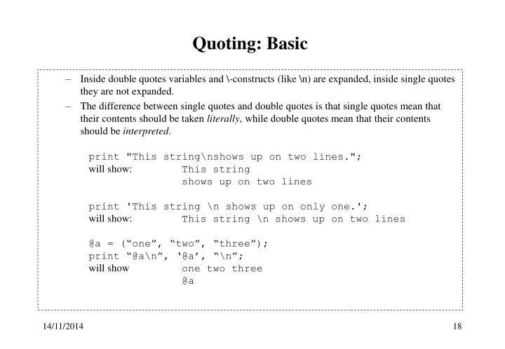 Quoting: Basic