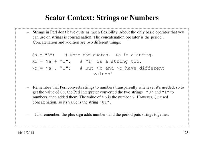 Scalar Context: Strings or Numbers