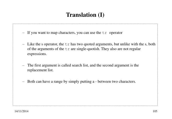 Translation (I)