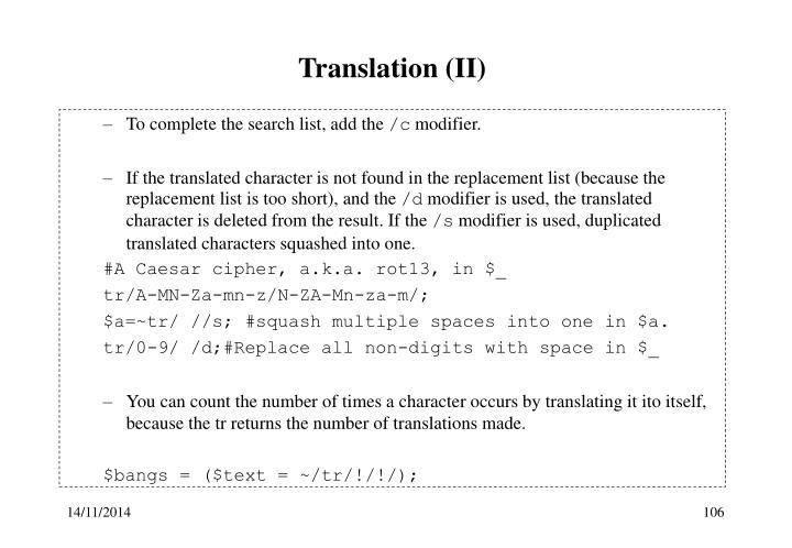 Translation (II)