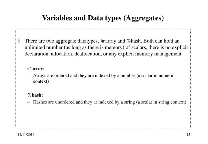 Variables and Data types (Aggregates)