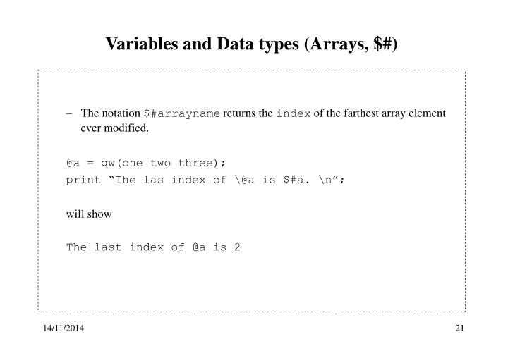 Variables and Data types (Arrays, $#)