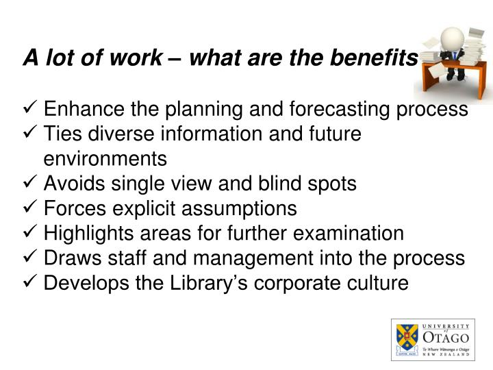 A lot of work – what are the benefits
