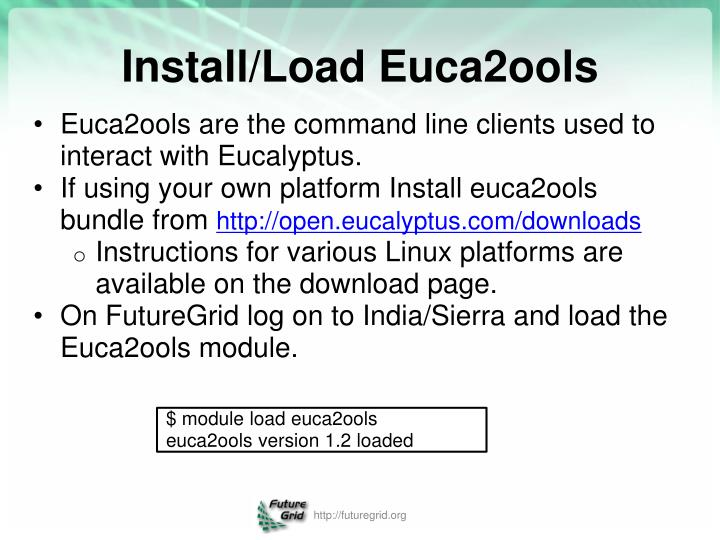 Euca2ools are the command line clients used to interact with Eucalyptus.