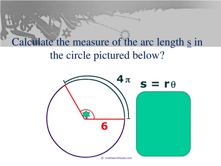 Calculate the measure of the arc length