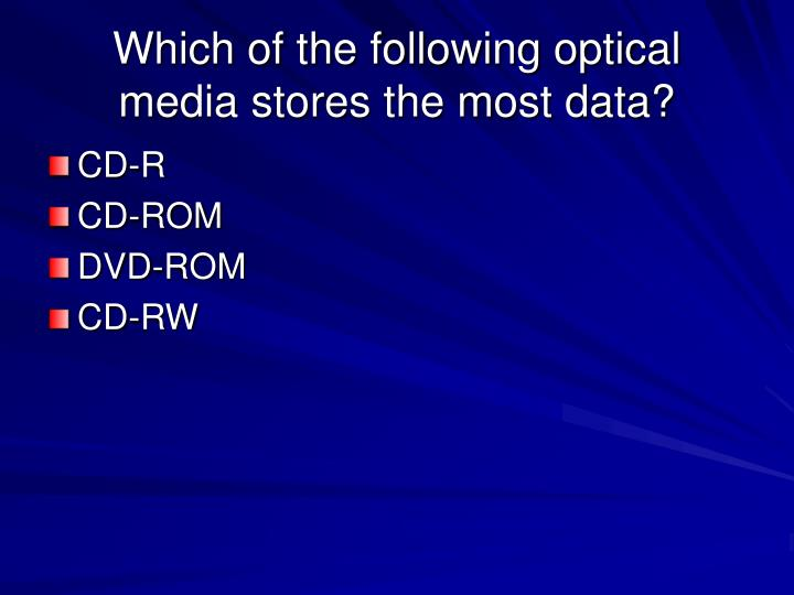 Which of the following optical media stores the most data?