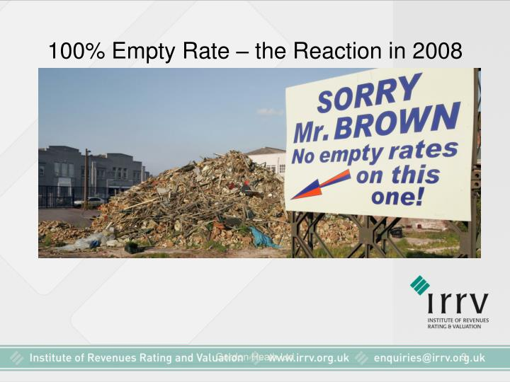 100 empty rate the reaction in 2008