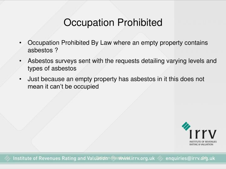 Occupation Prohibited
