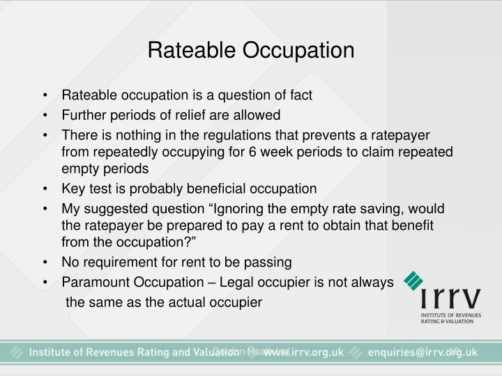Rateable Occupation