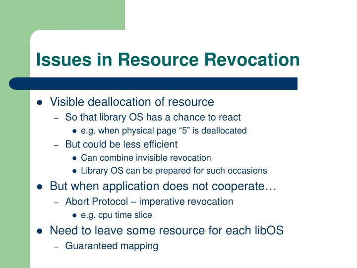 Issues in Resource Revocation