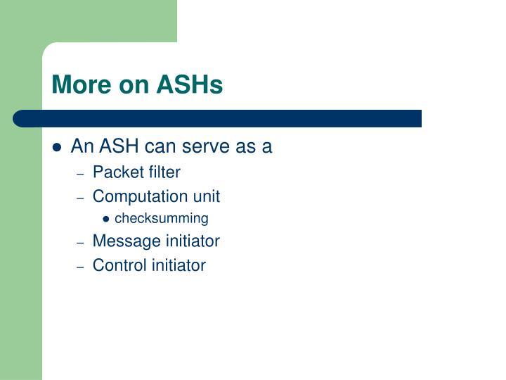More on ASHs