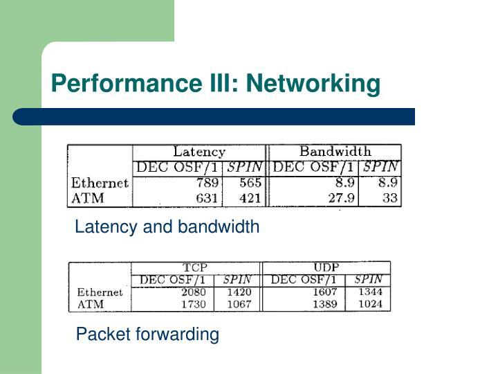 Performance III: Networking