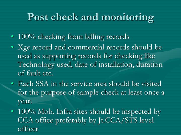 Post check and monitoring