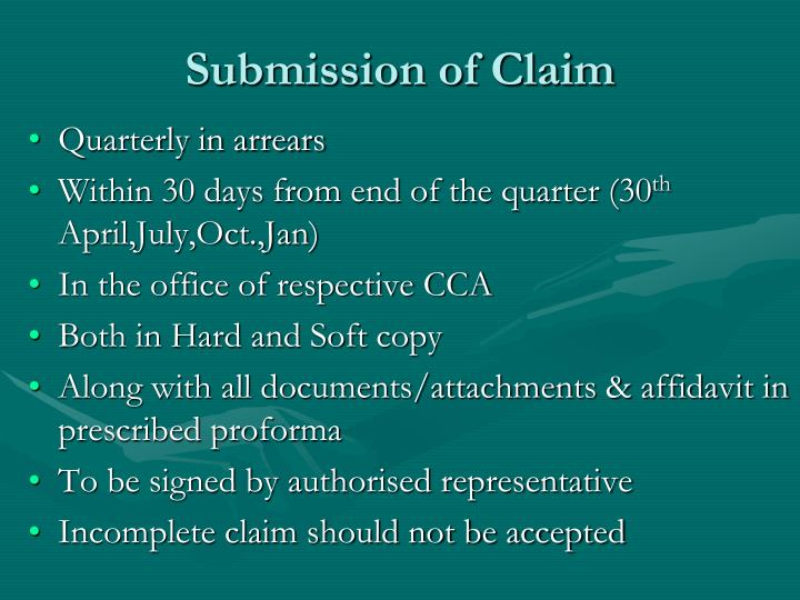 Submission of claim