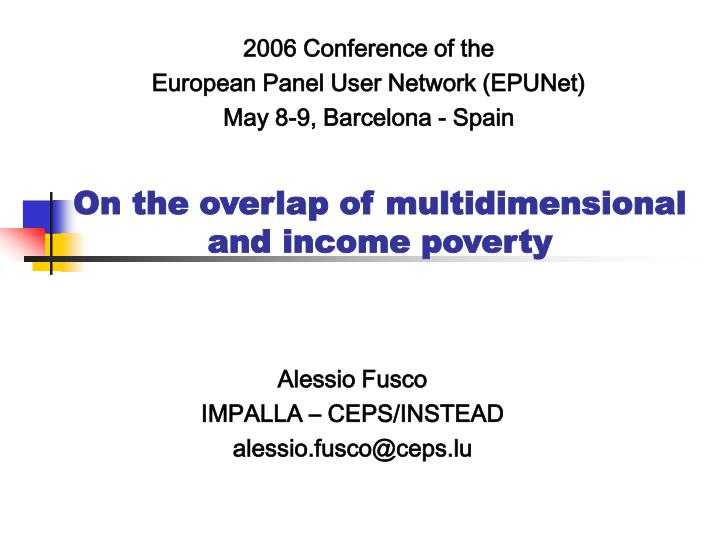 on the overlap of multidimensional and income poverty n.
