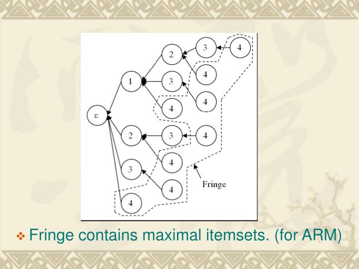Fringe contains maximal itemsets. (for ARM)