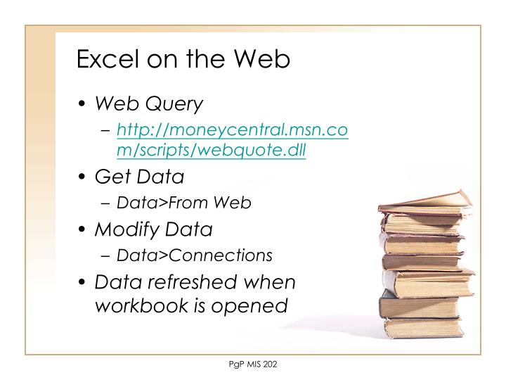 Excel on the Web