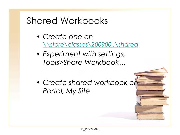 Shared Workbooks