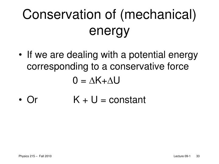 Conservation of (mechanical) energy