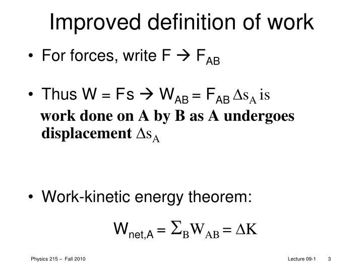Improved definition of work