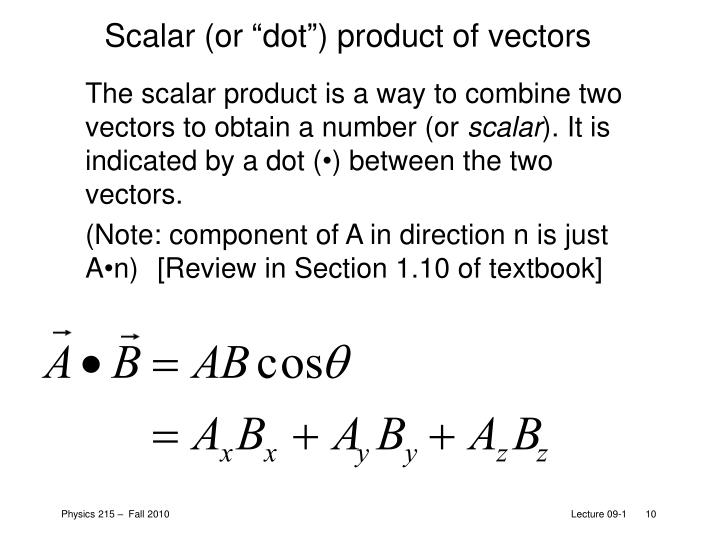 """Scalar (or """"dot"""") product of vectors"""