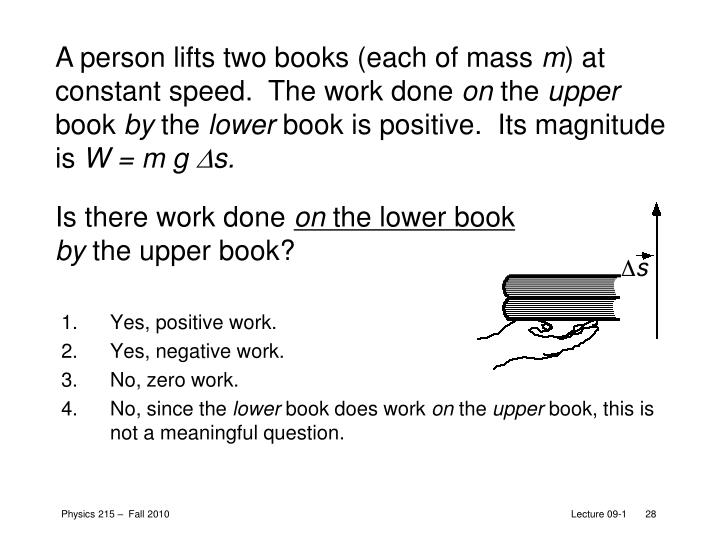 A person lifts two books (each of mass