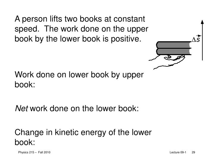 A person lifts two books at constant speed.  The work done on the upper book by the lower book is positive.