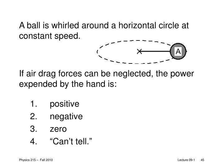 A ball is whirled around a horizontal circle at constant speed.