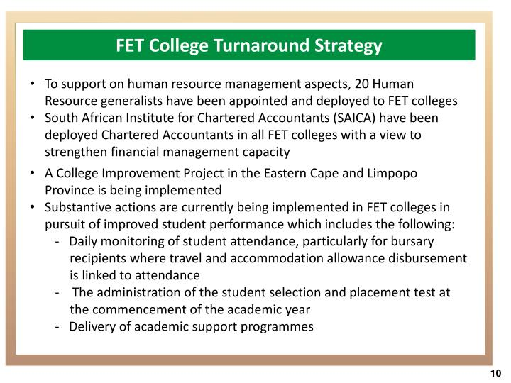 FET College Turnaround Strategy
