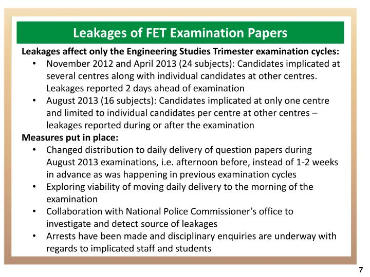 Leakages of FET Examination Papers