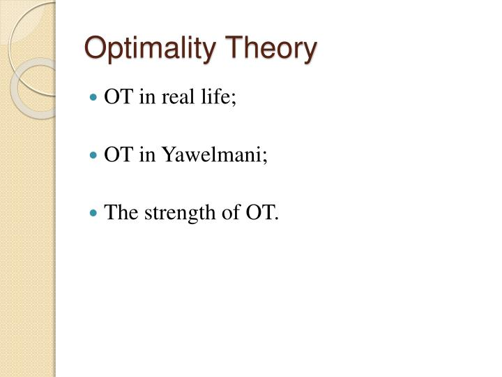 Optimality theory1