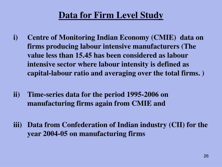 Data for Firm Level Study
