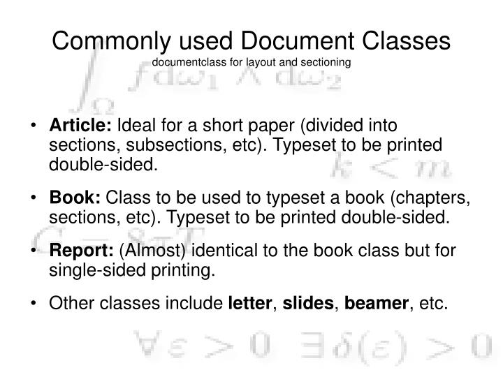 Commonly used Document Classes