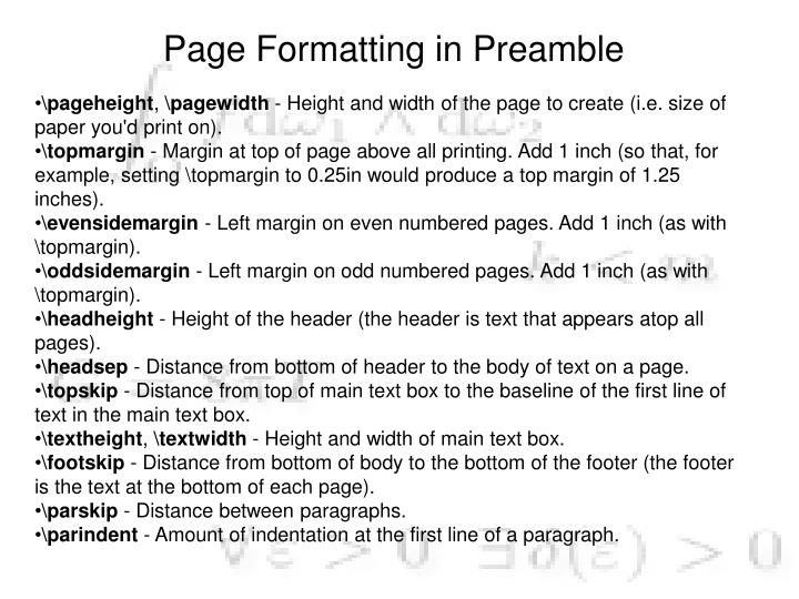 Page Formatting in Preamble
